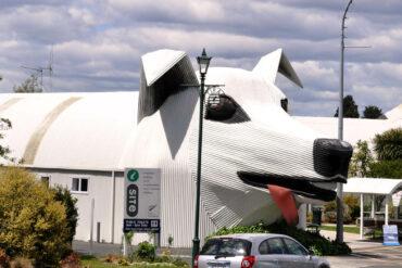 Туалет в виде собаки и магазин-овца: мастер из Новой Зеландии делает причудливые постройки из гофрированного железа