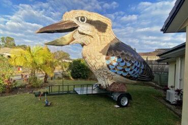 Гигантская птица-кукабарра со смехом колесит по улицам Австралии